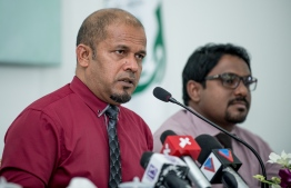 EC's President Ahmed Shareef speaks at press conference held August 26, 2018 regarding the Presidential Election 2018. PHOTO: AHMED NISHAATH/MIHAARU