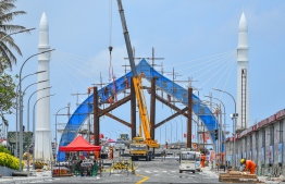 Male City, August 27, 2018: Final stages of preparation as Maldives gears up to unveil the landmark Sinamale Bridge. PHOTO: NISHAN ALI/MIHAARU