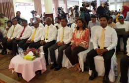 Opposition coalition's presidential candidate Ibrahim Mohamed Solih (C) and former President Mohamed Nasheed (R-3) pictured at the opposition gathering held in Colombo, on August 27, 2018. PHOTO/MDP