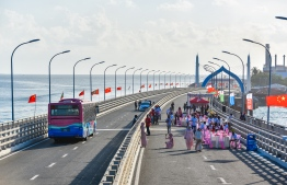 Sinamale' Bridge connecting capital Male' to reclaimed suburb Hulhumale'. The bridge, built during former President Yameen Abdul Gayoom's administration was funded by Chinese loans. PHOTO: HUSSAIN WAHEED/ MIHAARU