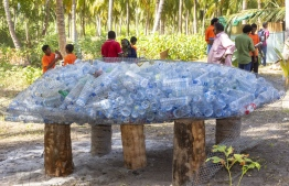 September 1, 2018, L. Maabaidhoo: Empty plastic bottles gathered at the Laamu Turtle Festival 2018, advocating against plastic pollution. PHOTO: HAWWA AMAANY ABDULLA / THE EDITION
