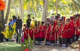 September 1, 2018, L. Maabaidhoo: Students ready to perform a traditional dance at the Laamu Turtle Festival 2018. PHOTO: HAWWA AMAANY ABDULLA / THE EDITION