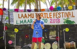 September 1, 2018, L. Maabaidhoo: Chief Guest Zoona Naseem gives a speech at the Laamu Turtle Festival 2018. PHOTO: HAWWA AMAANY ABDULLA / THE EDITION