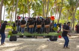 September 1, 2018, L. Maabaidhoo: Local boduberu group K Bola hype up the crowds at the Laamu Turtle Festival 2018. PHOTO: HAWWA AMAANY ABDULLA / THE EDITION