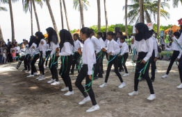 September 1, 2018, L. Maabaidhoo: Students give a performance at the Laamu Turtle Festival 2018. PHOTO: HAWWA AMAANY ABDULLA / THE EDITION