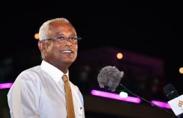 Presidential candidate Ibrahim Mohamed Solih (Ibu) addressing a mass opposition gathering. PHOTO: NISHAN ALI / MIHAARU