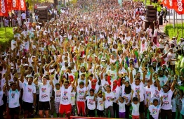 Participants at the Ooredoo Color Run 2017 in Hulhumale. PHOTO/OOREDOO