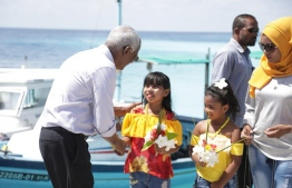 Opposition coalition's presidential candidate Ibrahim Mohamed Solih is warmly received at N.Foddhoo during his campaign trail. PHOTO/MDP