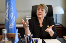 Former Chilean president Michelle Bachelet speaks from her office at the Palais Wilson on her first day as new United Nations (UN) High Commissioner for Human Rights on September 3, 2018 in Geneva. PHOTO:  FABRICE COFFRINI / AFP