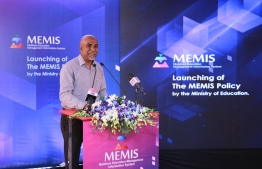 State education minister Ahmed Shafeeu speaks during the launching of the new MEMIS policy.