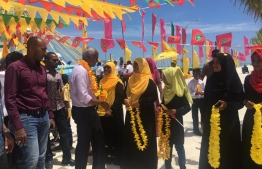 Ibrahim Mohamed Solih during the campaign tour. PHOTO: MIHAARU