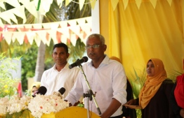 Opposition candidate Ibrahim Mohamed Solih and his running mate Faisal Naseem at a campaign gathering in K.Kaashidhoo. PHOTO/MDP