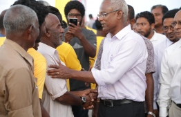 Opposition coalition presidential candidate and parliamentary group leader of Maldivian Democratic Party (MDP) Ibrahim Mohamed Solih (Ibu) during a campaign trip