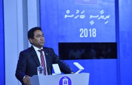 President Abdulla Yameen speaks at MNU presidential debate on September 16, 2018. PHOTO/MIHAARU