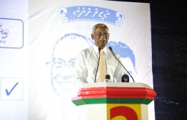Opposition candidate Ibrahim Mohamed Solih speaks at the campaign rally held in Dh.Kudahuvadhoo. PHOTO/MDP