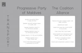 Pledges concerning 'Transport' made by Progressive Party of Maldives (PPM) and the Maldives Democratic Party (MDP)-led Coalition Alliance for the 2018 presidential elections. IMAGE: THE EDITION