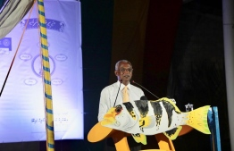 Ibu addressing the gathering in Faafu Bilehdhoo. PHOTO: MDP