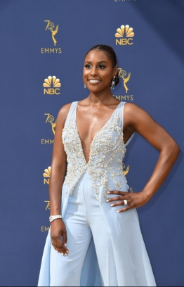 Lead actress in a comedy series nominee Issa Rae arrives for the 70th Emmy Awards at the Microsoft Theatre in Los Angeles, California on September 17, 2018.  / AFP PHOTO / VALERIE MACON