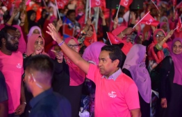 President Abdulla Yameen gestures at the PPM rally held on September 18, ahead of the Presidential Election 2018. PHOTO: AHMED NISHAATH/MIHAARU