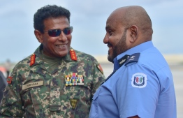 MNDF's Cheif of Defence Force Major General Shiyam and Acting Commissioner of Police Abdulla Nawaz. PHOTO: HUSSAIN WAHEED / MIHAARU