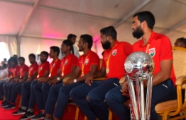 The Maldivian National Football team with the SAFF Championship trophy. PHOTO: HUSSAIN WAHEED / MIHAARU