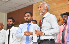 The ceremony held in Housing Ministry to award the Fulhadhoo Harbour project to MTCC. PHOTO: HUSSAIN WAHEED / MIHAARU