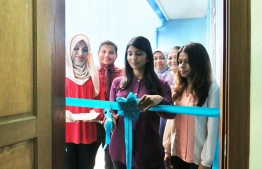 Minister of Gender and Family Aminath Zenysha opens the new Medical Unit in Fiyavathi orphanage. PHOTO/GENDER MINISTRY