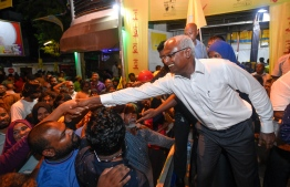 September 24, 2018: The new President-Elect Ibrahim Mohamed Solih joins the celebrations after winning the Presidential Election 2018. PHOTO: NISHAN ALI/MIHAARU