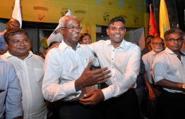 September 24, 2018: The new President-Elect Ibrahim Mohamed Solih and his running mate Faisal Naseem join the celebrations after winning the Presidential Election 2018. PHOTO: NISHAN ALI/MIHAARU
