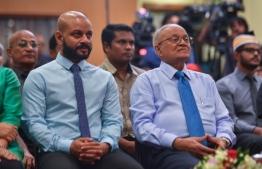 Former President Maumoon Abdul Gayoom (R) and Dhiggaru MP Faris Maumoon. FILE PHOTO: HUSSAIN WAHEED/MIHAARU