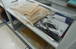 Some of the photographs and documents preserved at the national archives. PHOTO: HUSSAIN WAHEED / MIHAARU