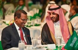 Saudi Arabia's deputy ambassador for Maldives Matrek Abdulla M Aldosari (R) speaking to the Foreign Secretary of Maldives Ahmed Sareer. PHOTO: AHMED NISHAATH / MIHAARU