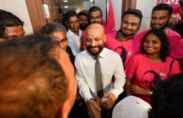 MP Faris Maumoon right after being released on bail. HUSSAIN WAHEED / MIHAARU