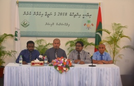 A press conference held by the Elections Commission. PHOTO: AHMED NISHAATH / MIHAARU
