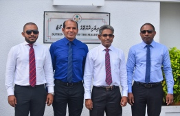 The four reinstated parliamentarians outside Supreme Court. PHOTO: HUSSAIN WAHEED / MIHAARU