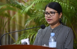 Dr. Sheeza Ali speaks after her inauguration as the first Dean of MNU's School of Medicine. PHOTO: AHMED NISHAATH/MIHAARU