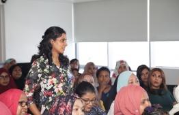 During President-Elect Ibrahim Mohamed Solih's meeting with women entrepreneurs at his campaign office. PHOTO/MDP