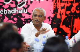 President-Elect Ibrahim Mohamed Solih during a meeting of the opposition coalition. PHOTO: HUSSAIN WAHEED/MIHAARU