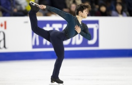 Shoma Uno of Japan performs his free skate at the 2018 Skate Canada International ISU Grand Prix event in Laval, Quebec, October 27, 2018. (Photo by Geoff Robins / AFP)