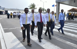November 1, 2018, Male City: Top officials of the opposition coalition at VIA to welcome former President Mohamed Nasheed upon his return to Maldives after 3 years. PHOTO: AHMED NISHAATH/MIHAARU