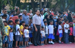 Male City, November 3, 2018: People gathered to watch the musical drill held by MNDF soldiers at the Republic Square to mark Victory Day. PHOTO: NISHAN ALI/MIHAARU
