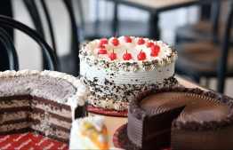The famed cakes of Secret Recipe at its new outlet in Velana International Airport's Waterfront complex. PHOTO: HUSSAIN WAHEED/MIHAARU