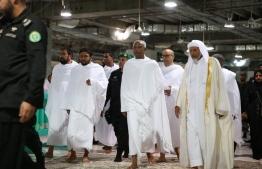 President-Elect Ibrahim Mohamed Solih (C) pictured during his Umra pilgrimage in Saudi Arabia. PHOTO/MDP