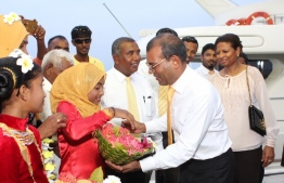 Former President Mohamed Nasheed is warmly welcomed by the residents of HA.Dhidhdhoo. PHOTO/MDP