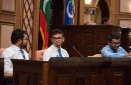Finance Minister Ahmed Munawar (C) pictured at a parliament session. PHOTO/MAJILIS
