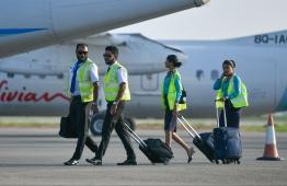 Flight crew of Maldivian airlines at Velana International Airport (VIA). PHOTO: MALDIVIAN