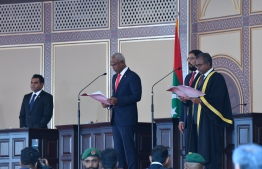 President Ibrahim Mohamed Solih taking the oath of office, administered by Chief Justice Abdulla Didi