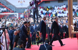 President-Elect Ibrahim Mohamed Solih arrives at the National Stadium / PHOTO: MIHAARU