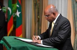 The newly appointed Minister of Foreign Affairs, Abdulla Shahid, during his oath-taking ceremony. PHOTO: HASSAN WAHEED/MIHAARU