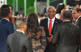 November 17, 2018, Male City: President Ibrahim Mohamed Solih arrives at the National Stadium to take his oath of office. PHOTO: NISHAN ALI/MIHAARU